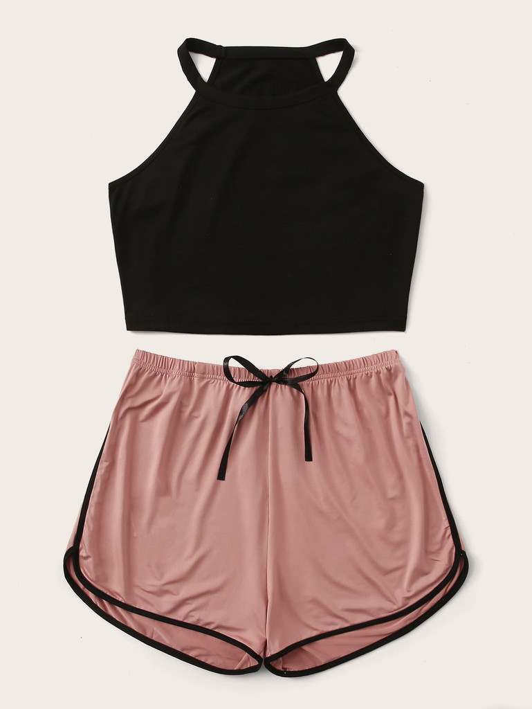Contrast Binding Pyjama Set