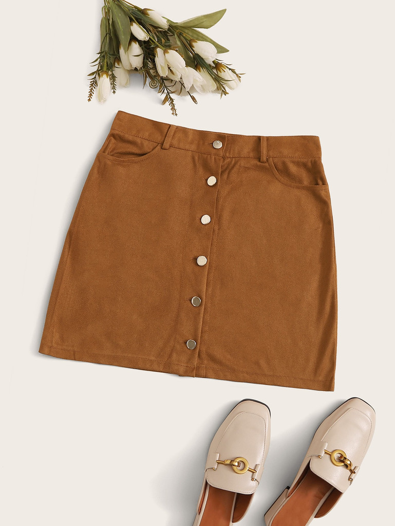Button Through Suede Mini Skirt