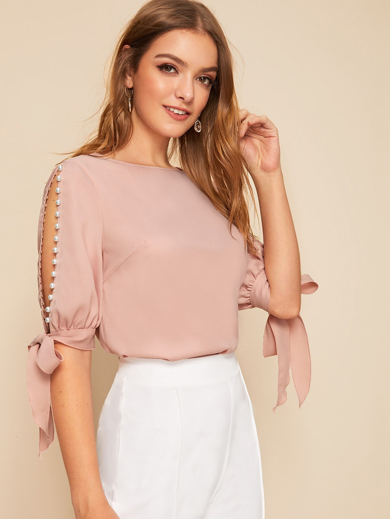 Pearl Beaded Knot Cuff Top