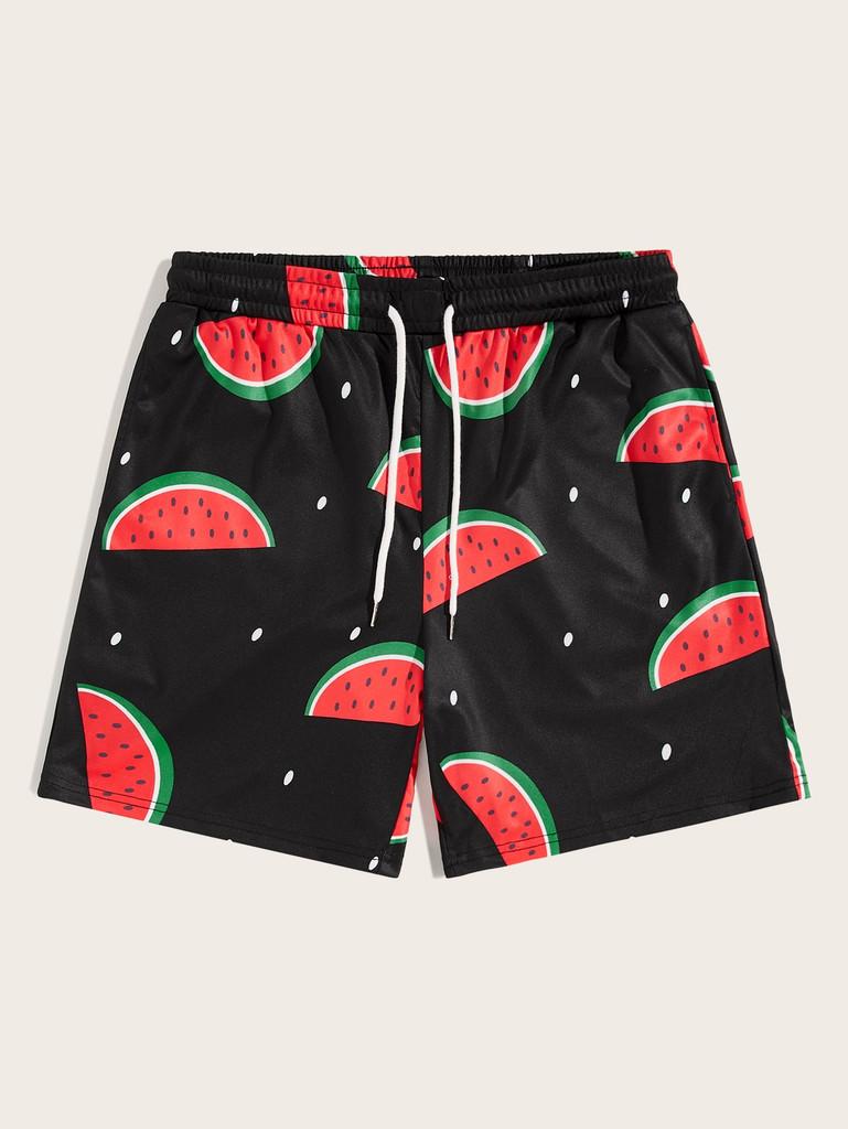 Men Drawstring Waist Watermelon Print Shorts
