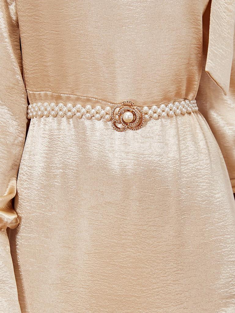 Faux Pearl Design Rhinestone Flower Buckle Belt