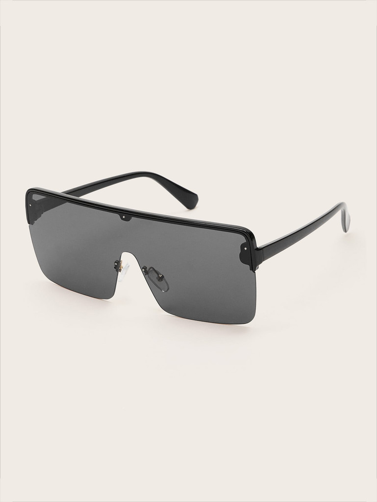 Flat Top Shield Sunglasses (v. Black)