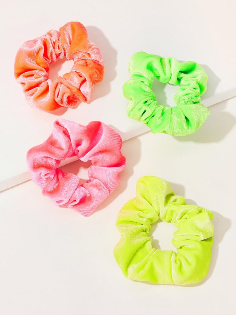 Velvet Neon Scrunchie 4pcs