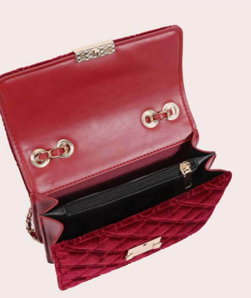 Quilted Velvet Shoulder Bag