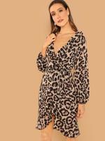 Waist Belted Leopard Print Ruffle Dress