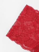 Scalloped Trim Floral Lace Longline Lingerie Set