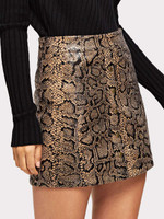 Zip Up Snake Print Skirt