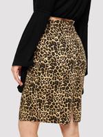 Wide Waistband Leopard Print Skirt