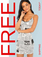 Newspaper Print Bodycon Cami Dress