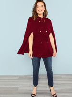 Plus Double Breasted Cape Coat - Burgundy