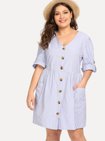 Roll-Up Sleeve Stripe Shirt Dress