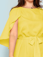 Plus Cape Sleeve Belted Dress - Yellow
