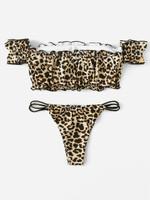 Leopard Bardot Top With Tanga Bikini Set