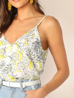 Double V Neck Lemon Print Cami Top