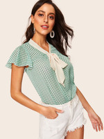 40s Flutter Sleeve Contrast Tied Neck Dot Blouse