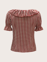 60s Ruffle Embellished Buttoned Gingham Blouse