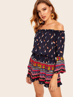 Off Shoulder Frill Trim Tribal Print Romper