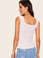 60s Knot Detail Striped Ribbed Top
