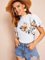 Mock Neck Layered Flutter Sleeve Floral Top