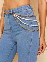 Faux Pearl Decor Multilayer Chain Belt