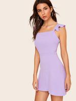 Ruffle Strap Fit & Flare Dress