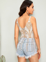 Fringe Hem Color-block Guipure Lace Cover Up