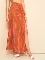 Shirred Wide Waistband Split Striped Skirt