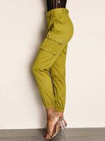 Joyfunear Pocket Side Elastic Hem Belted Utility Pants