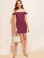 Lace Strap Ruched Front Polka Dot Dress