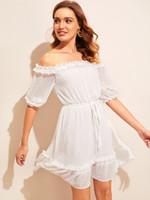 Off Shoulder Frill Trim Jacquard Flare Dress