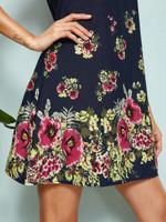 Zip Back Floral Print Tunic Dress