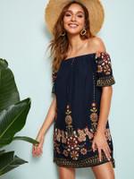 Botanical Print Ruffle Cuff Bardot Dress
