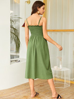 Button Front Shirred Cami Dress
