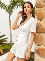Solid Eyelet Embroidery Cuff Playsuit