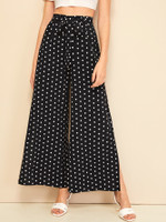 Polka Dot Split Side Belted Pants