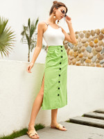 Neon Lime Split Thigh Side Button Through Skirt