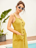 Double Pocket Button Through Tea Dress