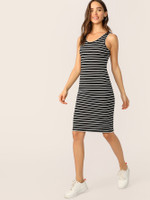 Striped Fitted Tank Dress