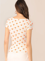 Heart Print Form Fitted Top