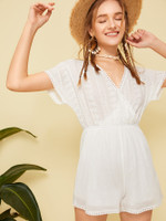 Solid Eyelet Embroidery Surplice Front Romper