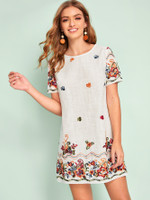 Embroidery Textured Tunic Dress