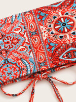 Random Tribal Lace-up Bandeau With High Cut Bikini