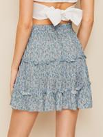 Ditsy Floral Drawstring Waist Frill Trim Skirt (v. Multicolor)