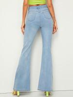 Bleach Wash Flare Leg Jeans