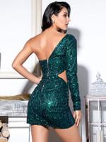 LOVE&LEMONADE One Shoulder Cut-out Sequin Bodycon Mini Dress