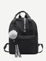 Slogan Ribbon & Pom Pom Decor Backpack