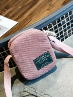 Ribbed Detail Slogan Patch Bag