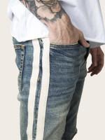 Men Side Stripe Ripped Jeans