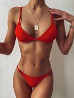 Rib-knit Triangle Tanga Bikini Swimsuit 2020