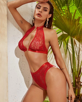 Floral Lace Heart Ring Linked Lingerie Set 2020